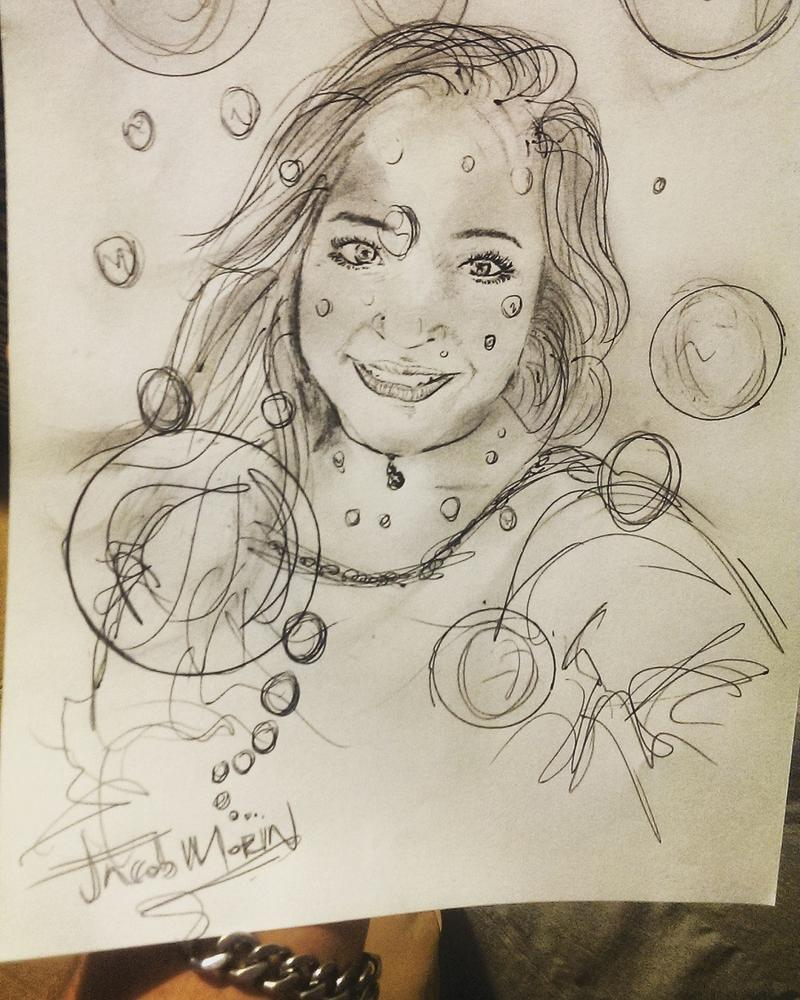 Morin often sketches portraits of people - this one of a Facebook friend.