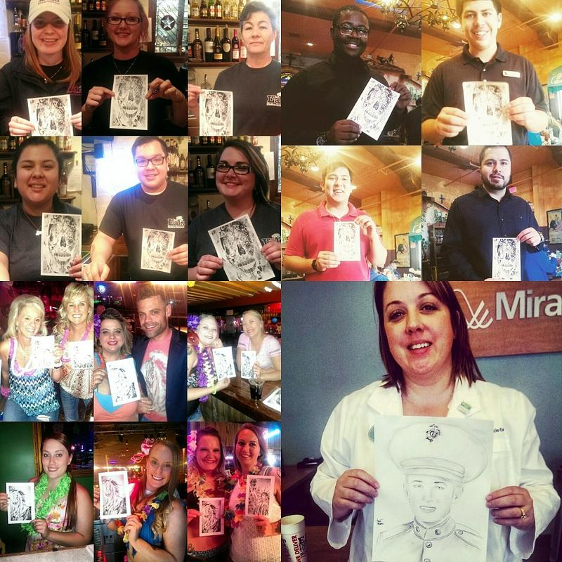 A collage of some of the many recipients of Morin's prints through his Mass Giving campaign.