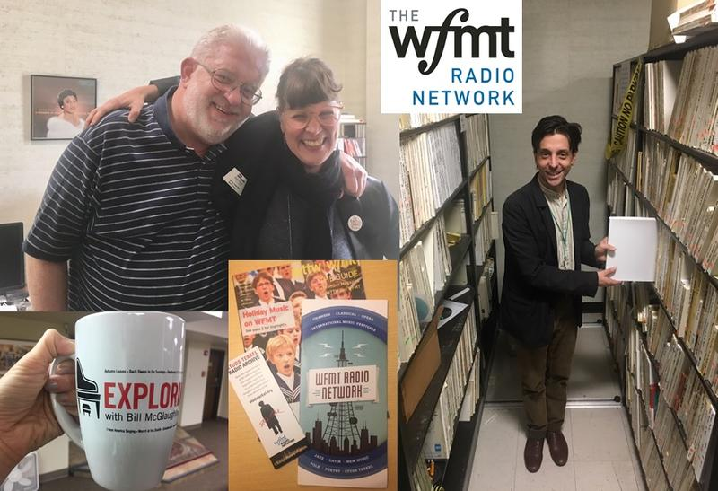 WFMT classical host Carl Grapentine with Jenny Inzerillo; Tony Macaluso (WFMT's Director of Network Syndication) shows off the Studs Terkel archive; and thanks for the Exploring Music mug!