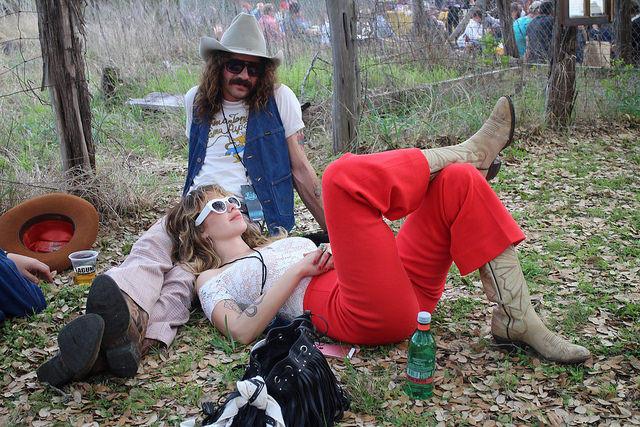 Fest-goers festing/resting