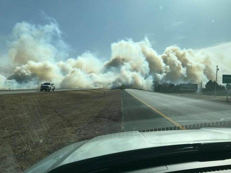 Another view of the fire near Hays, KS, which resulted in the closure of a section of I-70 Tuesday afternoon.