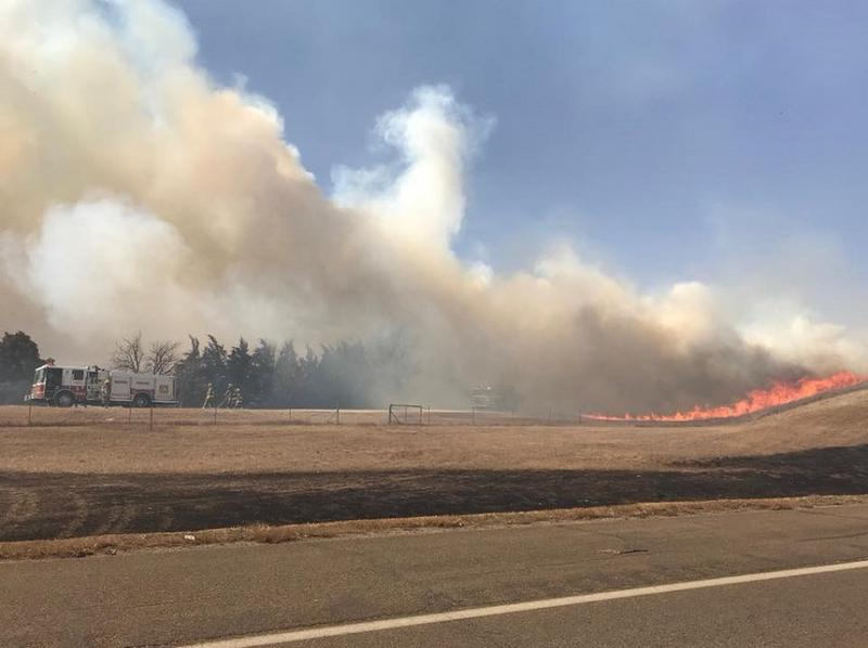 Smoke from one of the fires near Hays, KS Tuesday afternoon.