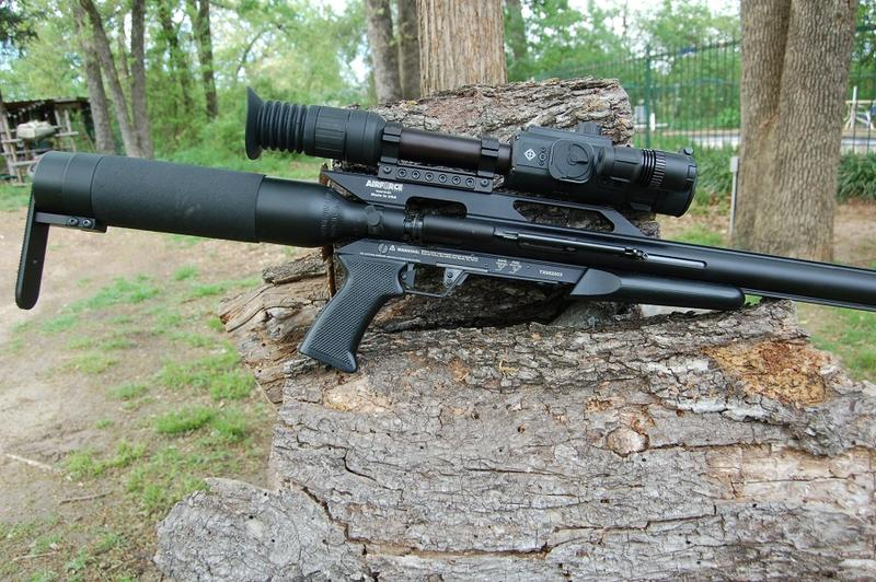 "Big Bore air rifles are being considered for use in Texas during the fall big game hunting seasons. This is Luke's 45 caliber ""Texan"" by AIrforce Airguns. The rifle produces 500-foot pounds of energy when shooting the 350-grain Hunters Supply bullets that"