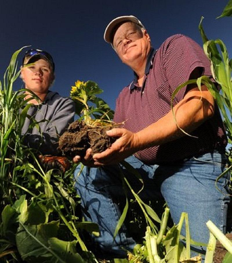 Gabe Brown, a leader in the Soil Health Movement, with his son, Paul Brown.