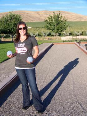 Jenn Nance, 25, of West Richland is the Goose Ridge winery tasting room manager in southeast Washington. The winery has organized a league for their employees, and hopes even more people will start to play.