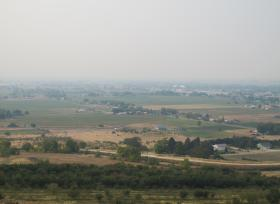 Emmet Idaho disappears in haze Thursday afternoon.
