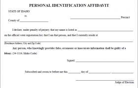 Idaho Voter ID Affidavit