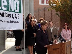 Penni Cyr addressing Students Come First opponents the day after voters rejected the laws.