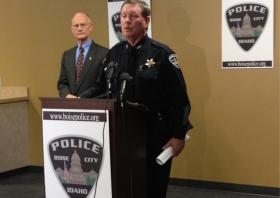 Boise Police Chief Michael Masterson and Community Ombudsman Pierce Murphy (left) say mental health emergency calls have risen by 24% over four years.