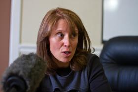 Liz Woodruff addresses media in November 2012 over LINE Commission report
