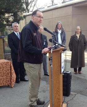 Zoo Boise director Steve Burns says the new patas monkeys should arrive within a few weeks. Also pictured (L to R): Boise Mayor Dave Bieter, Parks and Recreation Director Doug Holloway, Boise City Council member Elaine Clegg and Council President Maryanne Jordan.