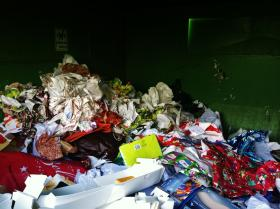Wrapping paper dominates recycling bins in Coeur d'Alene, Idaho.