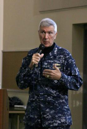 Adm. Samuel J. Locklear addresses officers at Joint Base Lewis-McChord Friday.