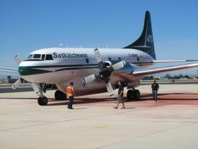 An air tanker sits on the tarmac of the Boise airport in June 2012. The U.S. government borrowed the Canadian plane and crew to help fight wildfires.