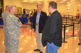 Idaho Governor Butch Otter greets soldiers returning from Afghanistan.