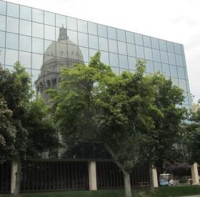Idaho's capital reflected by a neighbor.