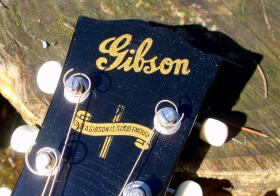 This banner logo appeared on the headstock of Gibson guitars only during World War II when female luthiers replaced male craftsmen.