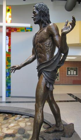 This life-sized statue of Jesus in the Bishop Kelly lobby underscores the fact that it is a private religious school. Nationally private school enrollment is shrinking, especially in Catholic schools. Boise's Bishop Kelly High School is growing. A school spokesperson says BK's advantage is an emphasis on spirituality unavailable in public schools, both charter and traditional.