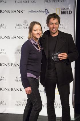 Actress Jodie Foster and Vision Award winner Sean Baker at the Sun Valley Film Festival.