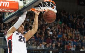 Gonzaga senior forward Elias Harris dunks against University of Portland at McCarthey Arena in Spokane, Wash., on March 2.