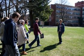 Gonzaga senior Andrew Opila leads a campus tour for high school students considering the university in Spokane.