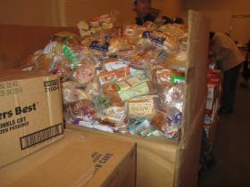 A huge box of bread will be divided up into family food boxes.