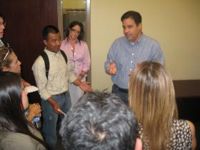 Much has been made lately of the future of Idaho Congressman Raul Labrador, seen here discussing immigration with protestors at his Meridian office in June.