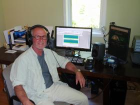 "Gordon Hempton edits his ""greatest hits"" at his home studio in Indianola, WA."