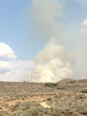 Smoke from the Turner Fire near Lucky Peak could be seen from Lucky Peak State Park on Monday.