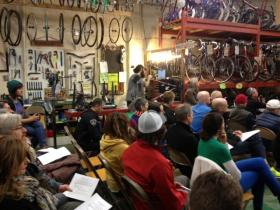 A diverse crowd packed into the Boise Bicycle Project for a meeting on bike and pedestrian safety in the Treasure Valley.