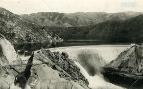 This is an historic image of the Arrowrock Dam on the Boise River. It was constructed between 1911-1915.