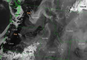 This satellite image from the National Weather Service shows areas of smoke on July 17.