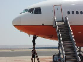 This DC-10 air tanker at NIFC is getting some work done between flights.