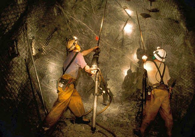 "Lucky Friday Mine workers in Mullan, Idaho are valued for their skill at ""jackleg"" mining, using hand-held equipment seen here."
