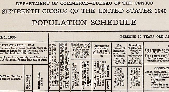 An original blank 1940 Federal Decennial Census Population Schedule