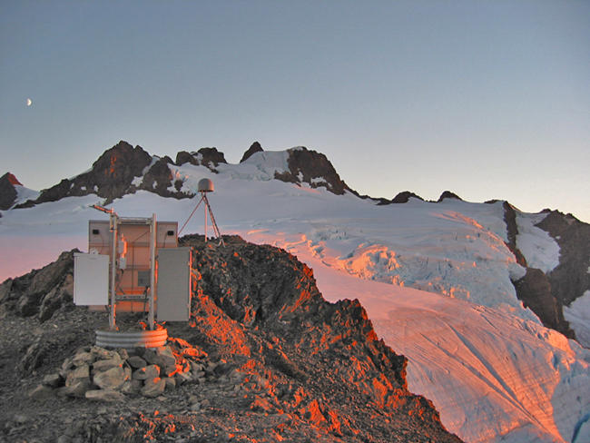 This GPS station near the summit of Mount Olympus in Olympic National Park could be part of a future earthquake detection and early warning system.