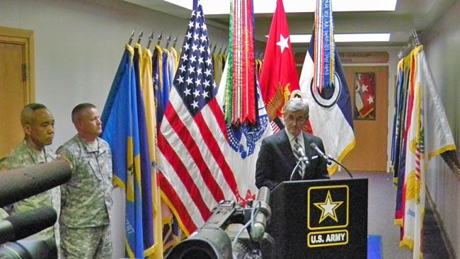 Army Secretary John McHugh at Joint Base Lewis-McChord to announce new oversight of combat troops.