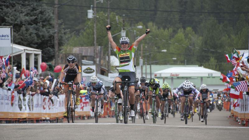 Team Specialized-lululemon's Ina-Yoko Teutenberg wins Sunday's stage in Idaho City.