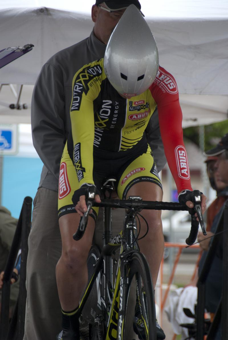 One of the women from the German team Abus Nutrixxion begins her ride of the Exergy Tour's individaul time trial which mimics the course that will be at the London Olympic games.