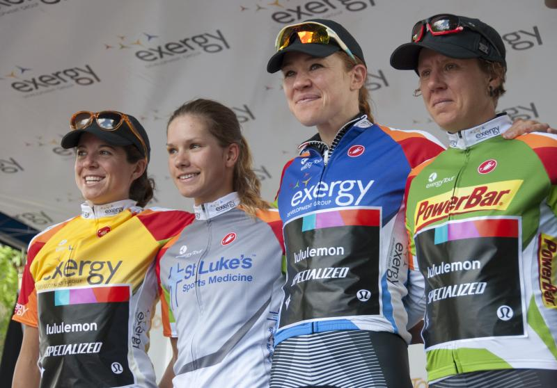 The overall winners of the inaugural Exergy Tour including winner Evelyn Stevens (far left).