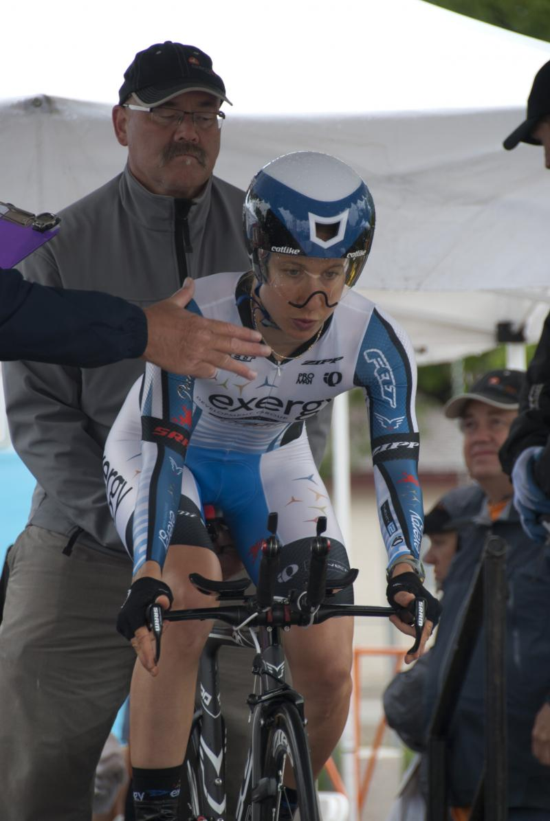 Team Exergy TWENTY12 rider Andrea Dvorak gets ready to race the individual time trial at Saturday's stage in downtown Kuna.