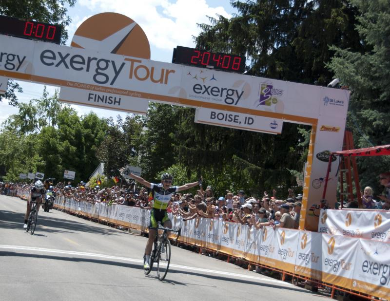 German rider Claudia Hausler of GreenEDGE – AIS wins Monday's stage in historic Hyde Park in Boise.