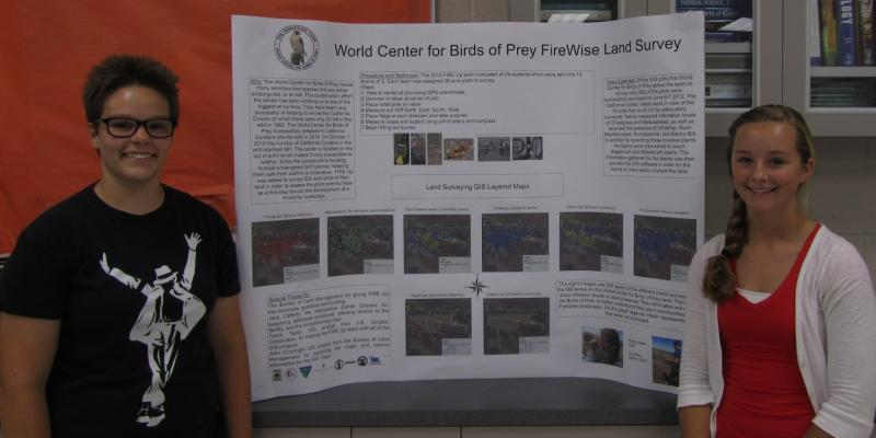 Courtney Stoker and Bailey Maier display the poster they made to highlight some of the FIRE up research.