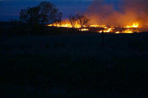 Grass fire by Raymond, Nebraska