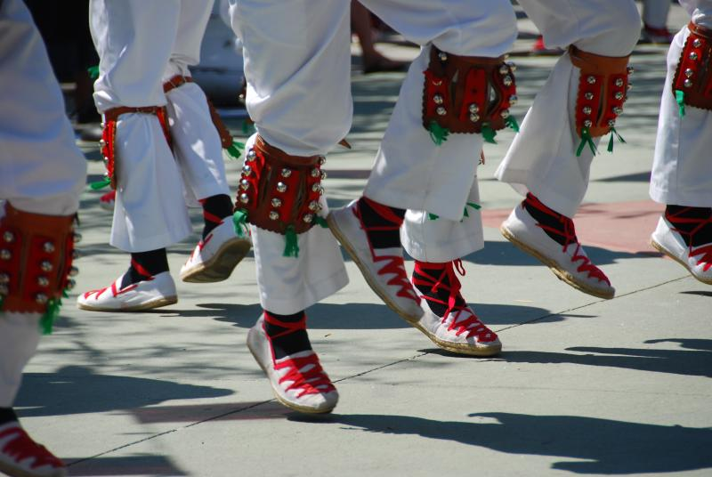 Basque men dance during the Boise Basque Festival which takes place every year this month.
