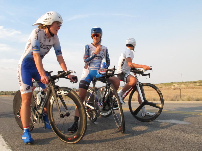 Kristin Armstrong chats with fellow cyclists and gives advice.