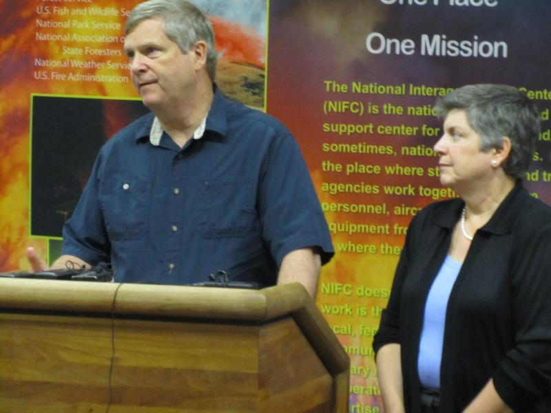 Secretary of Agriculture Tom Vilsack and Homeland Security Secretary Janet Napolitano brief reporters at the National Interagency Fire Center in Boise on Thursday.