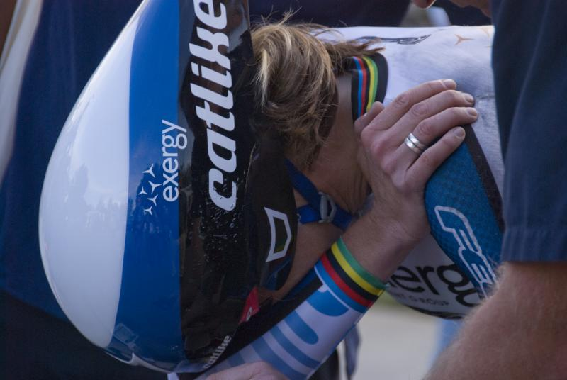 Kristin Armstrong after crashing and breaking her collarbone at the opening stage of the Exergy Tour in May.