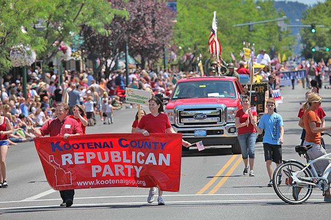 The Coeur d'Alene Fourth of July parade featured the main Kootenai County Republican Party float, followed at a distance by other factions of the party.