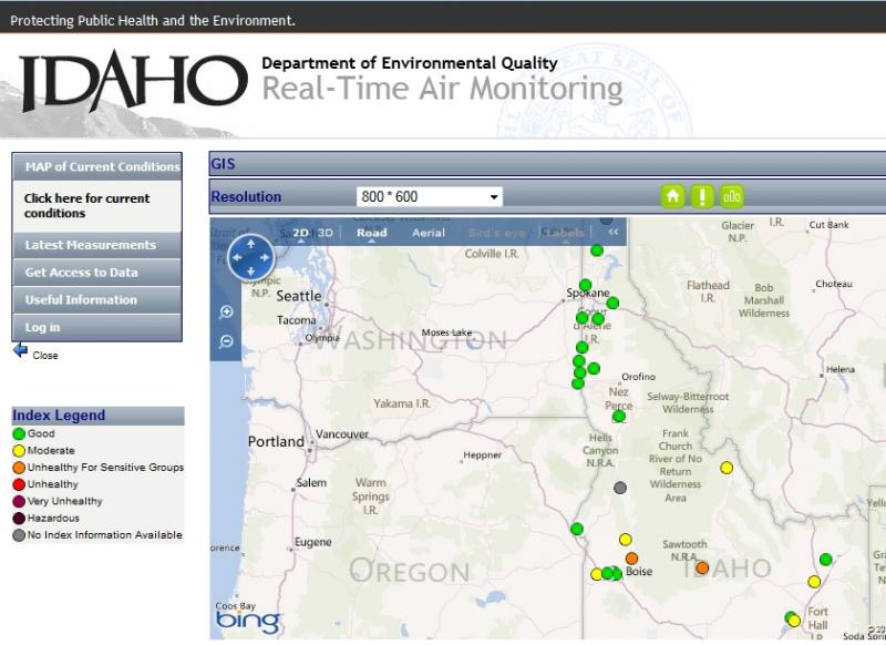 Real-time air quality monitor map. Go to http://airquality.deq.idaho.gov/ for the latest.